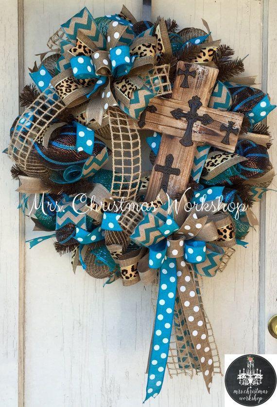 Cross wreath deco mesh wreath burlap by MrsChristmasWorkshop
