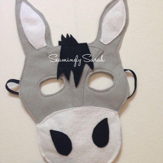 Kids Felt Donkey Mask Handmade Kids Childs by SeaminglySarah