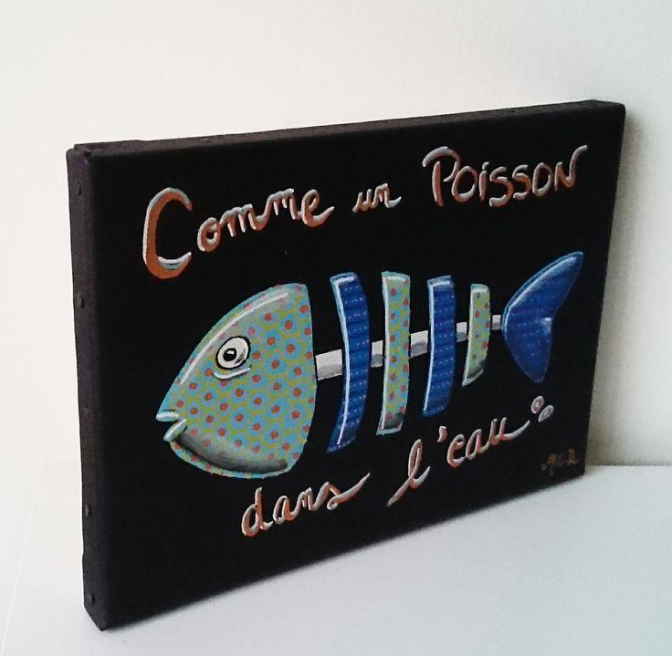 """Tableau peinture acrylique """"Comme un poisson dans l eau """" : Peintures par milid"""
