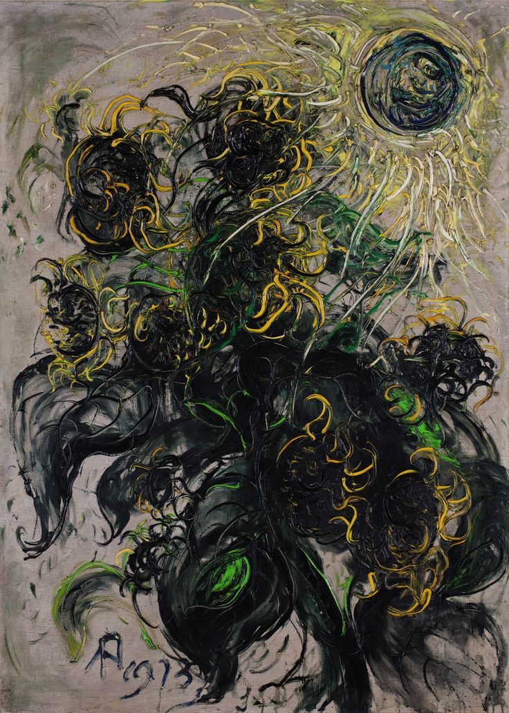 Affandi 1907 - 1990 SUNFLOWERS Signed and dated 1973 Oil on canvas laid on panel 135 by 96.5 cm.; 53 by 38 in.
