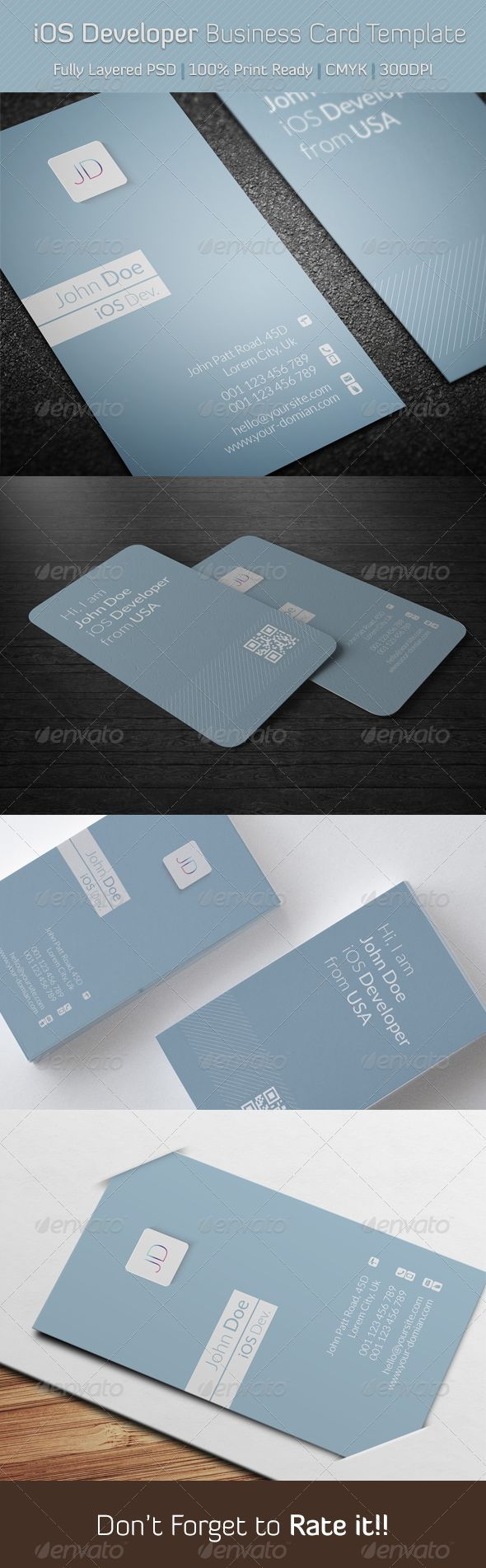 iOS Developer Business Card Template — Photoshop PSD #office #iOS7 developer • Available here → https://graphicriver.net/item/ios-developer-business-card-template/6389702?ref=pxcr