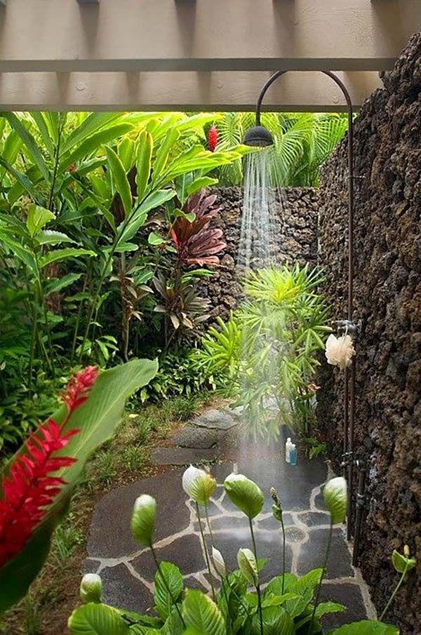 Lush outdoor shower space with Hawaiian feel