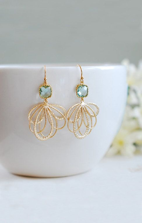 Aqua Blue Dangle Earrings Erinite Aquamarine Glass Gold Filigree Chandelier Earrings Aqua Wedding Bridesmaids Earrings Valentines day Gift