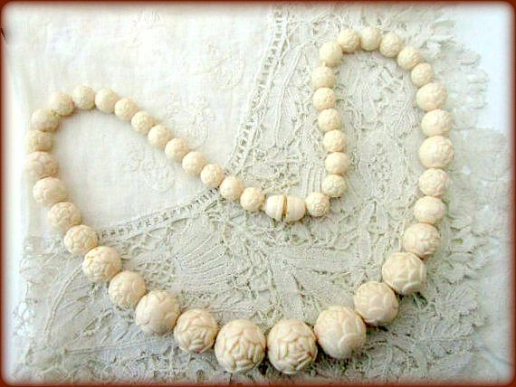 Vintage Carved Celluloid Necklace ~ Ivory Bead Necklace ~ Floral Choker ~ Art Deco Style ~ Cream Round Roses Beads Choker ~ Flower Jewellery by CatsAndHatsVintage on Etsy