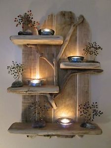 Charming-Unique-Driftwood-Shelves-Solid-Rustic-Shabby-Chic-Nautical-Artwork
