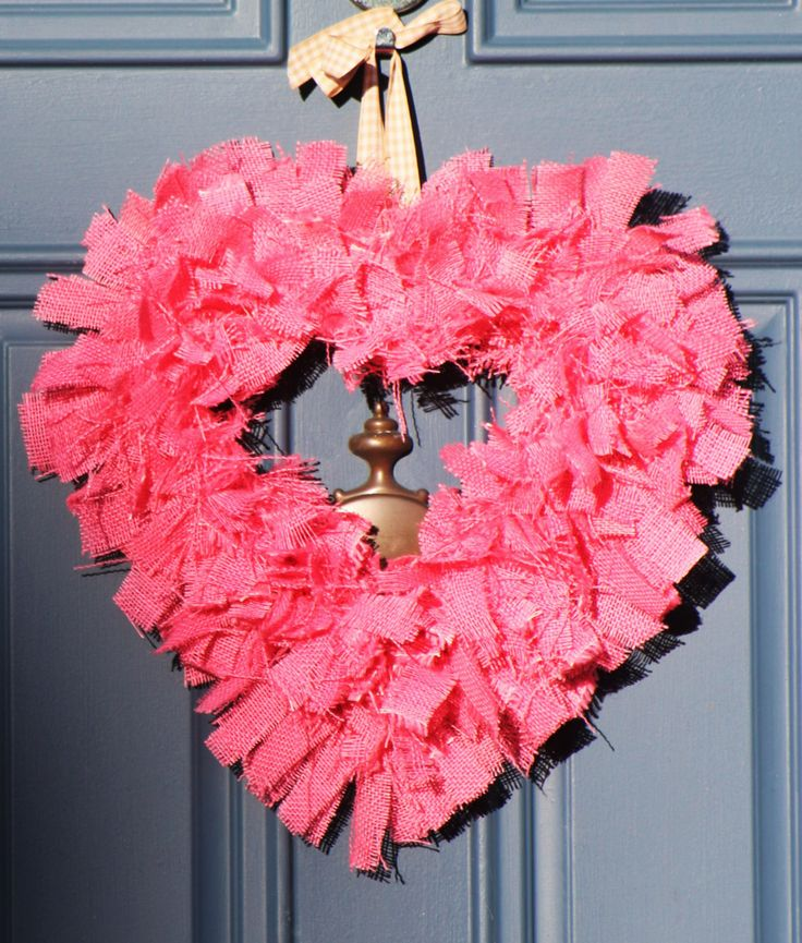 Valentines Decoration Heart Shaped Wreath Pink Wreath