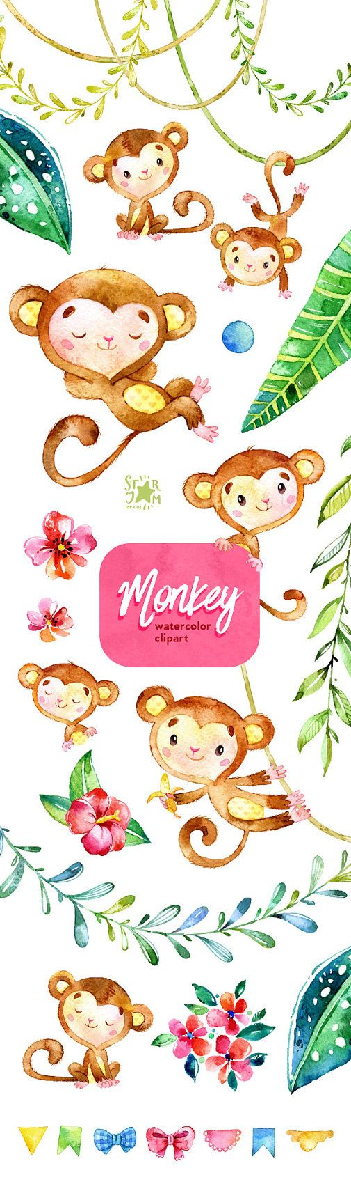 Monkey. Watercolor animals clipart jungle от StarJamforKids