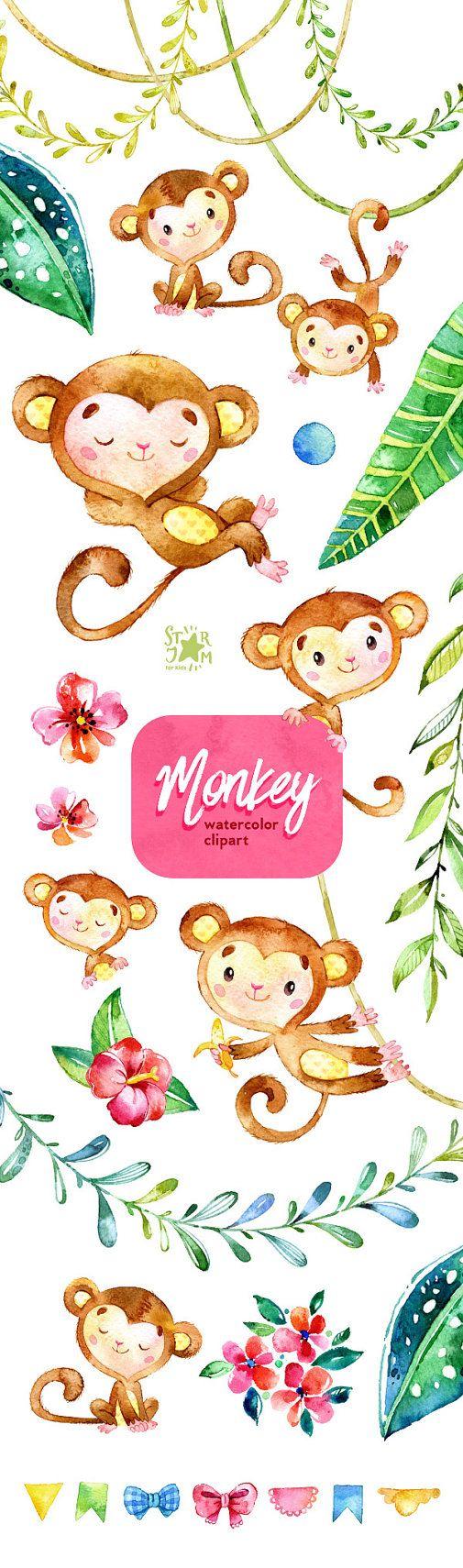 Mono. Imágenes Prediseñadas de acuarela animales selva