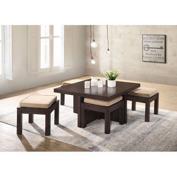 This Coffee Table With 4 Nested Stools Is The Perfect Set For Smaller Spaces With Limited Seati Coffee Table Modern Coffee Table Sets Coffee Table With Seating