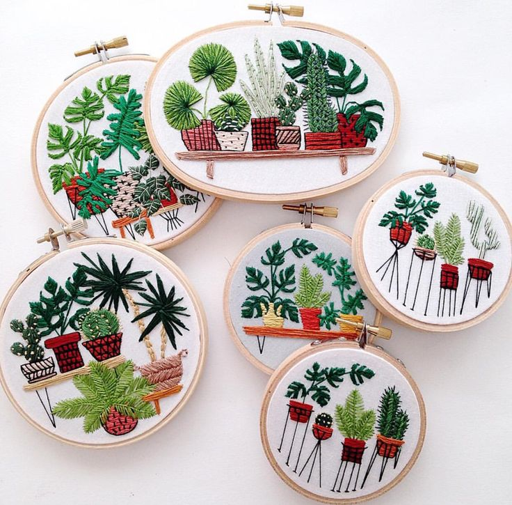 plants succulents cacti palms green embroidery
