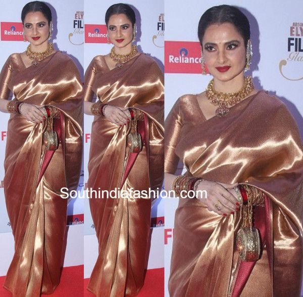 Rekha wore yet another kanjeevaram to attend the Filmfare glamour and style awards night. She wore heavy gold jewellery to go with it and looked diva-esque!