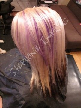 Blonde Hair With Purple Peek A Boo Highlights Two Solid