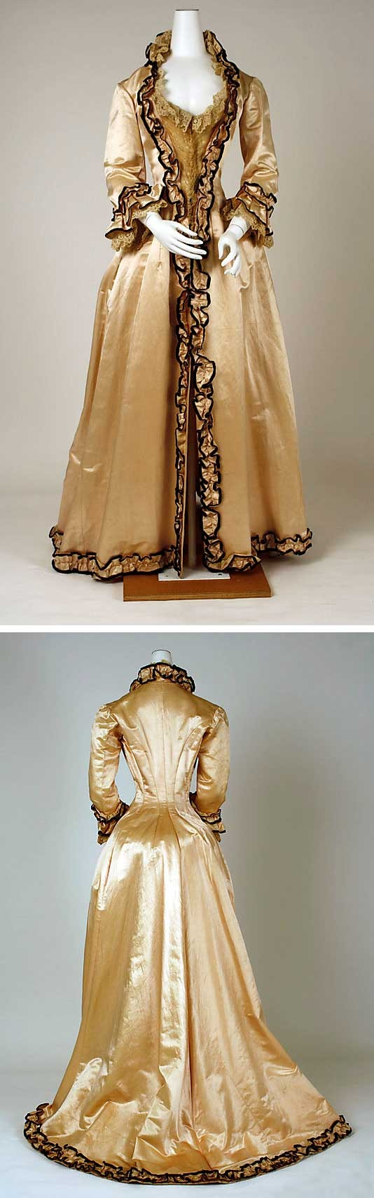 Tea gown, American, ca. 1880. Silk. Metropolitan Museum of Art