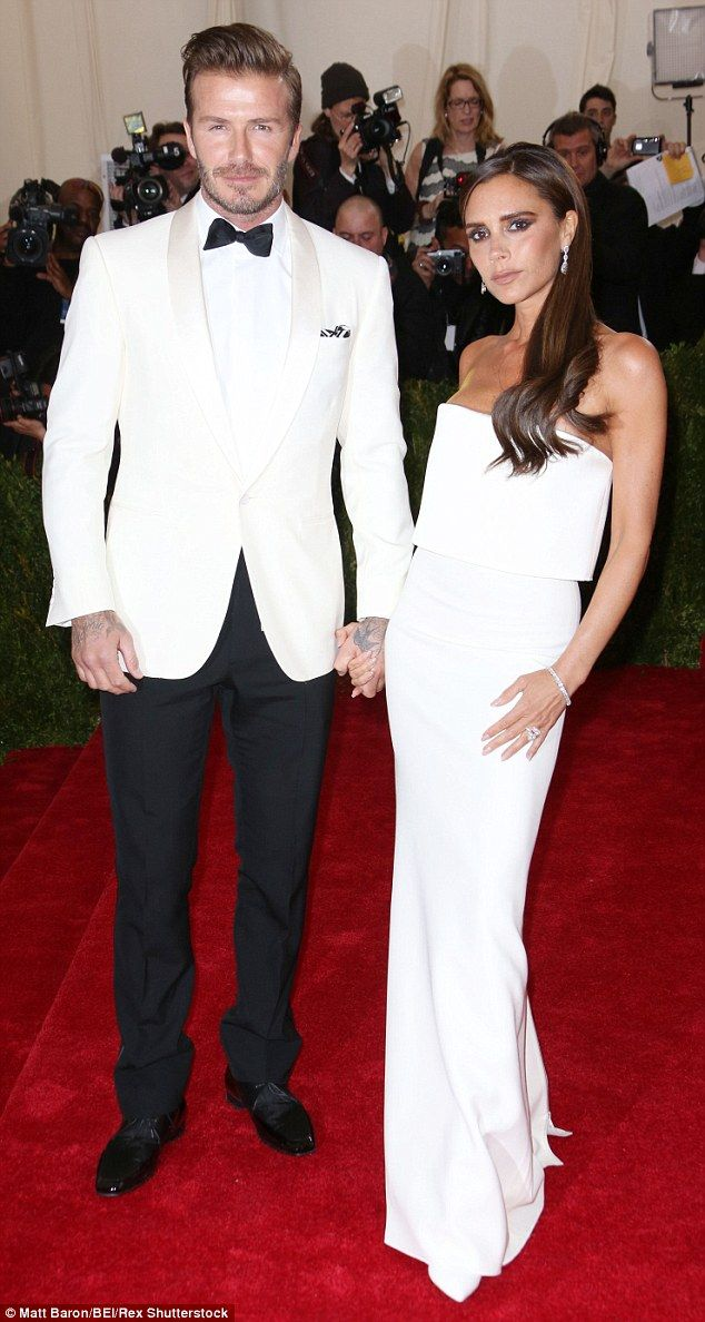 David Beckham, who is famed for experimenting with his look, wore a pearly white tuxedo to...