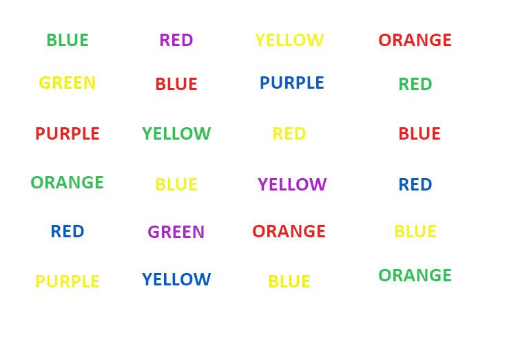 Looking for a fun way to teach your students about eye health? Try this Stroop Effect Test! Ask each student to name the color of the word, not what the word says, and see how quickly they can do it correctly.