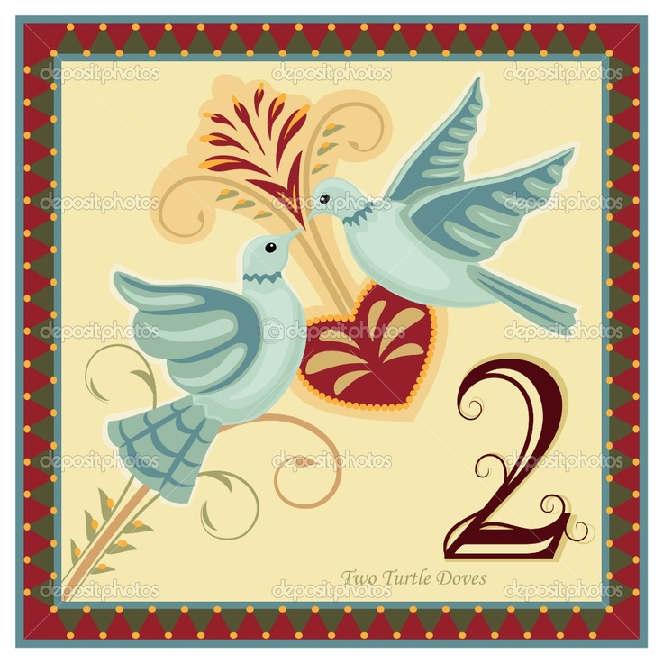 12 Days Of Christmas Pictures Printable   The 12 Days of Christmas - 2-nd day - Two turtle doves. Vector ...