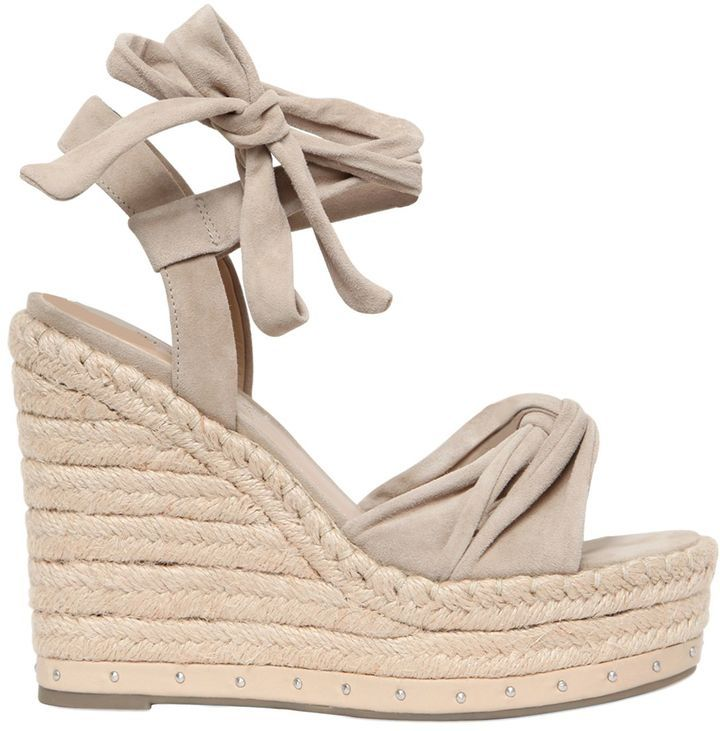 Kendall+kylie 120mm Grayce Suede Lace Up Wedges