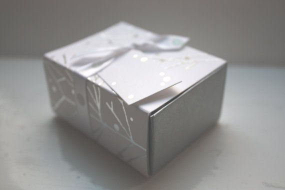 White gift box matchbox style with silver branches and ribbon, on Etsy, $4.18