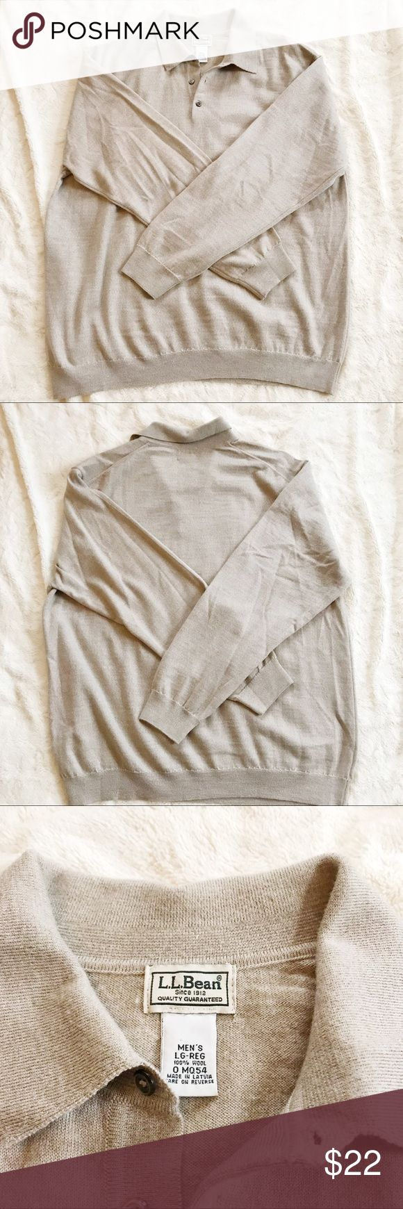 """LL Bean Men's 100% Wool Polo Pullover Sweater LL Bean Men's tan pullover Polo long sleeved sweater with buttons. 100% wool. Minimal to no signs of wear. Great quality clothing. Length: 27.5"""" Armpit to armpit: 24"""" L.L. Bean Sweaters"""