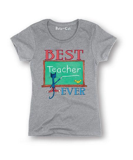 Athletic Heather Pete the Cat 'Best Teacher Ever' Tee - Women