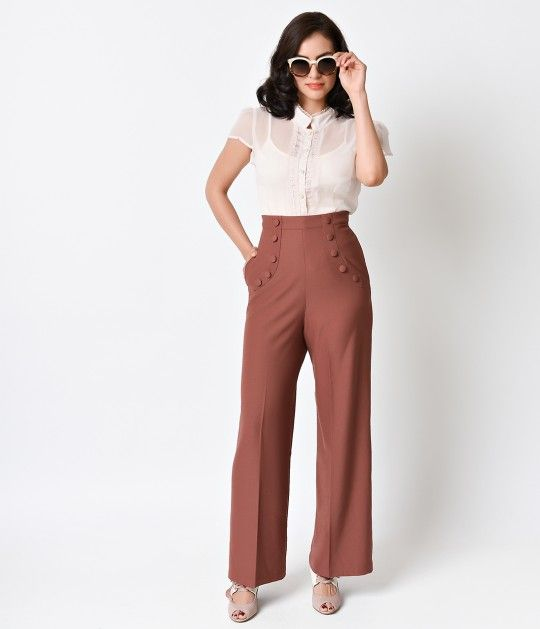 Banned 1940s Style Dusty Rose Dawn High Waist Crepe Sailor Pants