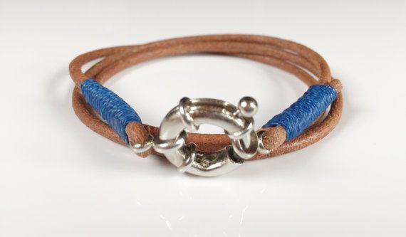 #Mens leather wrap #bracelet, silver plated clasp marine rudder, Light brown…
