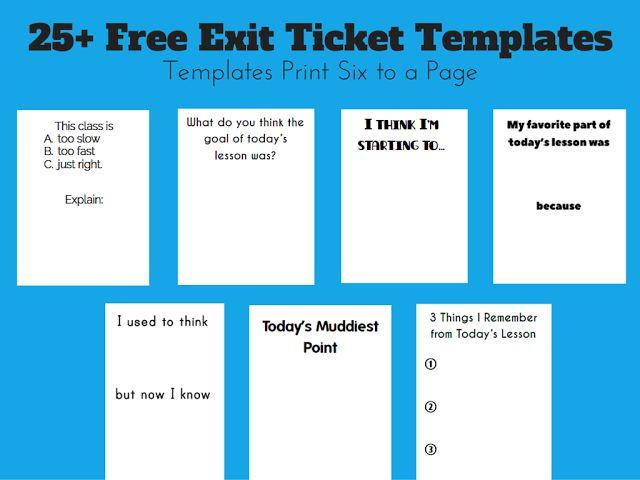 Free Exit Ticket Templates | Math = Love | Bloglovin'
