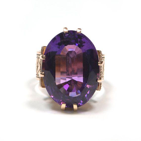 Antiguo victoriano 15k de oro rosa y anillo amatista