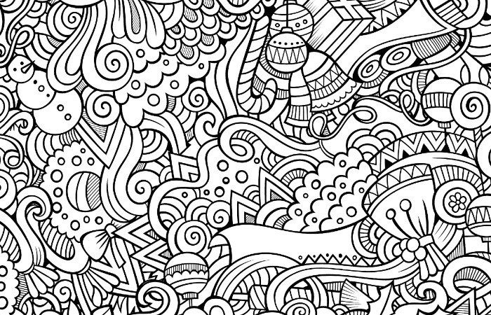 Christmas Abstract Doodle Zentangle Paisley Coloring Pages