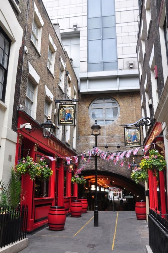 The Ship and Shovel in Charing Cross, London. The only London pub that is on both sides of the street, joined by an underground cellar
