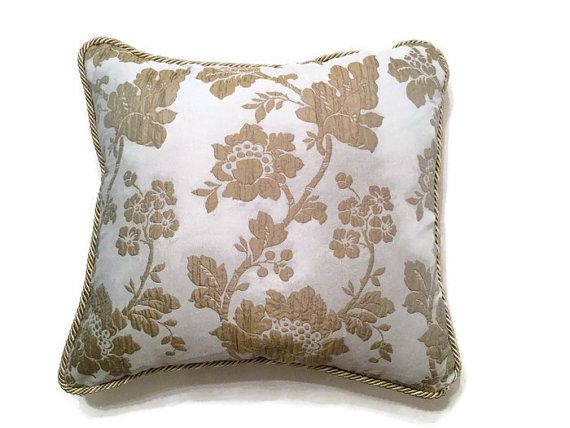 Couch decorative pillow - Floral embroidered silk taffeta luxury pillow with cord. Gold and platinum blue. Marylin designer decorative pillow by MyCushionBoutique.
