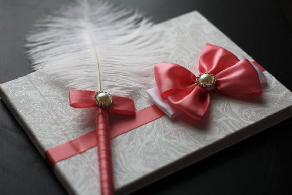 Coral Guest Book with pen \ Coral Sign in Book \ Ostrich Feather Pen \ coral wedding Guest book / coral wishes book \ memory book