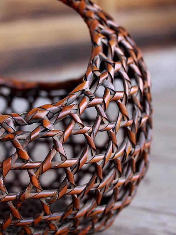 【一点限り】六ツ目巻花篭 花籠 竹かご 竹工芸品 bamboo 虎斑竹専門店 竹虎