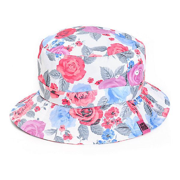 Married To The Mob Pretty Bitch Floral Bucket Hat ($25) ❤ liked on Polyvore featuring accessories, hats, fishing hat, fisherman hat, floral bucket hat, floral hat and floral print bucket hat