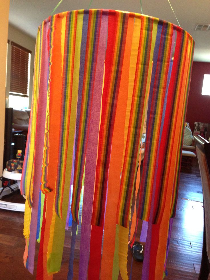 Rainbow decor with dollar store hulla loop and streamer   Reyan's ...