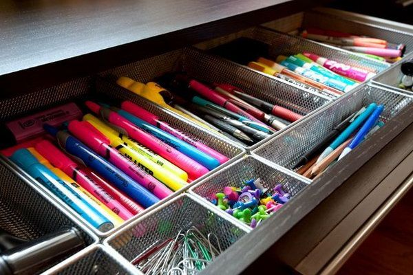 Home Office Drawer Organizers. Creatively organized home office boosts your mood and make you more productive. http://hative.com/creative-home-office-organizing-ideas/