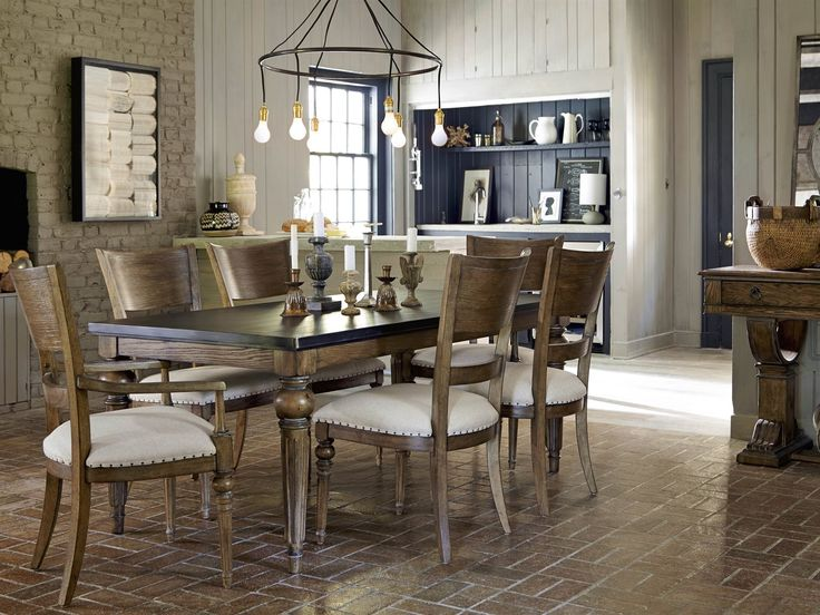 Universal New Bohemian 7 Piece Dining Set With Coffee House Table   Belfort  Furniture   Dining 7 (or More) Piece Set