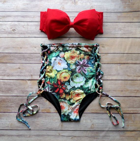 Bow Bandeau Bikini - Vintage Style High Waisted Pin-up Swimwear - Criss Cross Cut Out