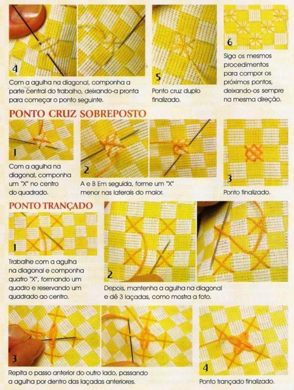 Bordado Passo a Passo: Pontos para bordar tecido xadres