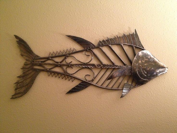 metal art sculpture tuna ocean game fish for yard garden or interior wall hanging decor