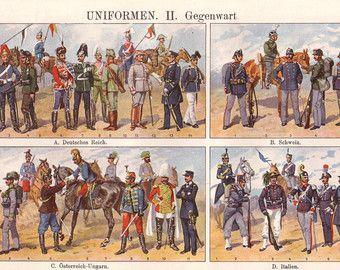 Militäruniformen, das historische original 1922 Drucken - Mode, Deutschland, Italien, Wand-Dekor - 93 Jahre alt Deutsche Buchillustration Platte (A697)