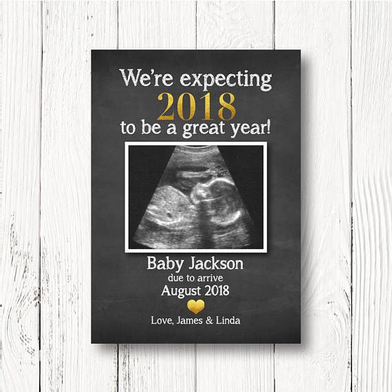 New Year's Pregnancy Announcement Card - Pregnancy Reveal to Grandparents - Aunt Uncle - We're Expecting 2018 to be a Great Year - Size 5x7