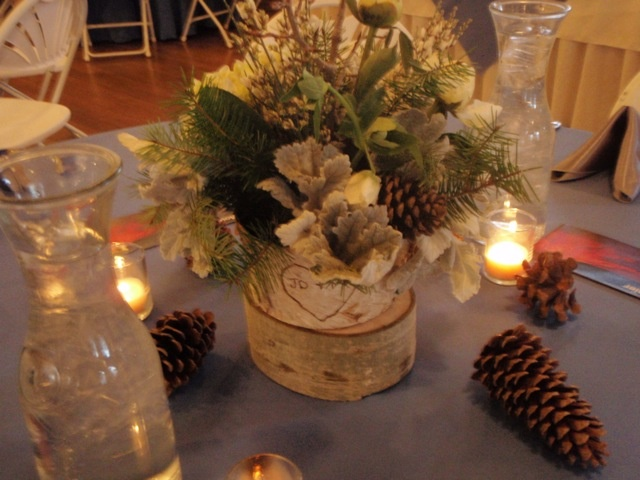 Winter Wedding Centerpiece - I only like the base on this one