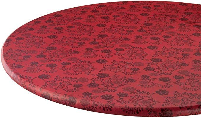 Fox Valley Traders The Kathleen Vinyl Elasticized Table Cover By Hsktm 45 56dia Round Review Table Covers Fitted Table Cover Vinyl