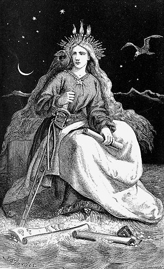 The 'Lady of the Mountain' (Fjallkonan) is the female incarnation of   Iceland. While she symbolised what Icelanders considered to be genuine   and purely Icelandic, in her purity she reflected a deep-seated, but unattainable,   wish of Icelanders to be a totally independent nation. Fjallkonan is thus not only a national   symbol, she also represents the national vision, the nation's ultimate dream.