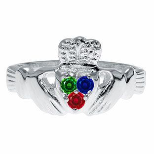 The classic Irish design (two hands holding a heart underneath a crown) symbolizes the givers wish to let love and friendship reign. The ring is customized with three 2MM round shaped birthstones of your choice. All birthstone months are available. The ring is crafted in your choice of 10K, 14K or 18K solid white, yellow, black or rose gold, or sterling silver. Available in size 4 through 9 (whole and half sizes). The band is .12 inches at its widest point and tapers down to .08 inches. This…