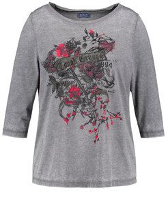 3/4 Arm Shirt mit Front-Print,Grey Fox Druck