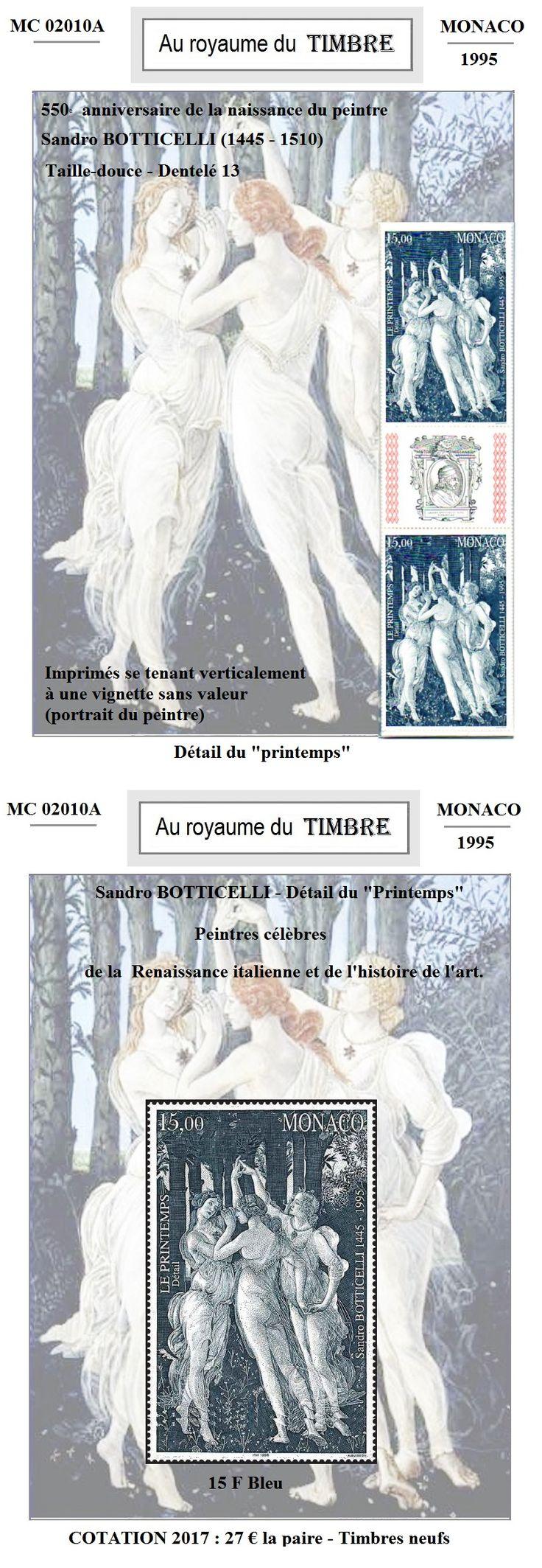 MC 02010 - 1995 - Anniversaire naissance de Botticeli. C'est une présentation unique qui vous est proposée, avec un emplacement sur mesure pour chaque timbre ; le support est collé sur le papier photo. Le timbre est glissé à l'intérieur. Ce système est très coûteux en temps et rendrait cette présentation invendable s'il en était tenu compte intégralement. Prix de l'article : 27 € Hors frais de livraison