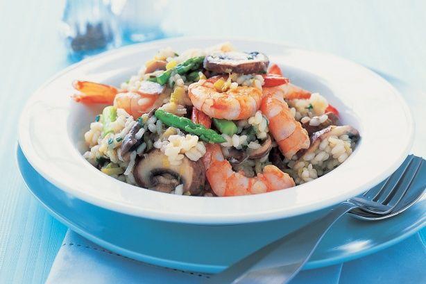 Quick prawn, asparagus & mushroom risotto main image