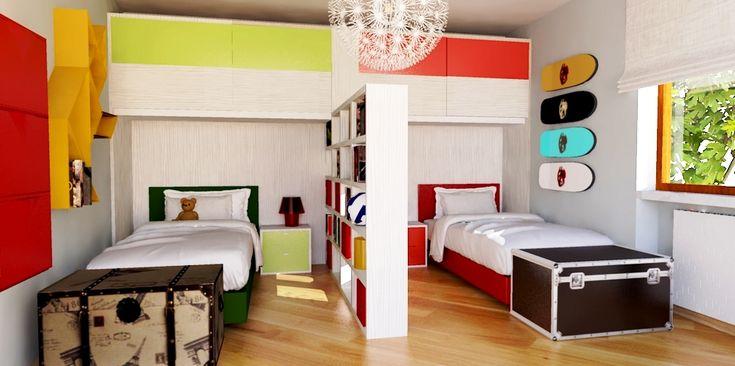 Una libreria bifacciale divide la cameretta per due in zone, per una maggiore privacy e per sfruttare lo spazio al centro. Per la lettrice Graziella G., ecco il progetto di un nostro architetto. In più, ti facciamo vedere come cambia la stanza modificando il colore del pavimento.